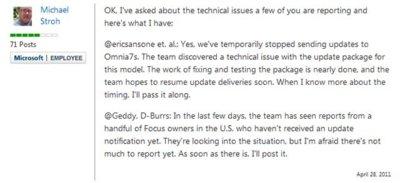Microsoft deja de actualizar temporalmente los Samsung Omnia 7
