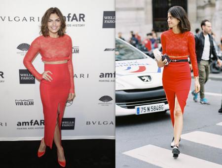 vestido rojo celebrity contra bloguera