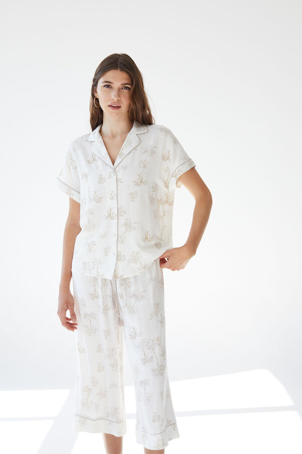 Pijama manga corta camisero tropical