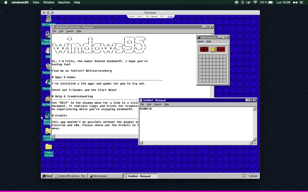 El Windows 95 que funciona como una app en Windows 10, Linux y Mac ahora trae Doom, Wolfenstein3D y el glorioso Netscape Navigator