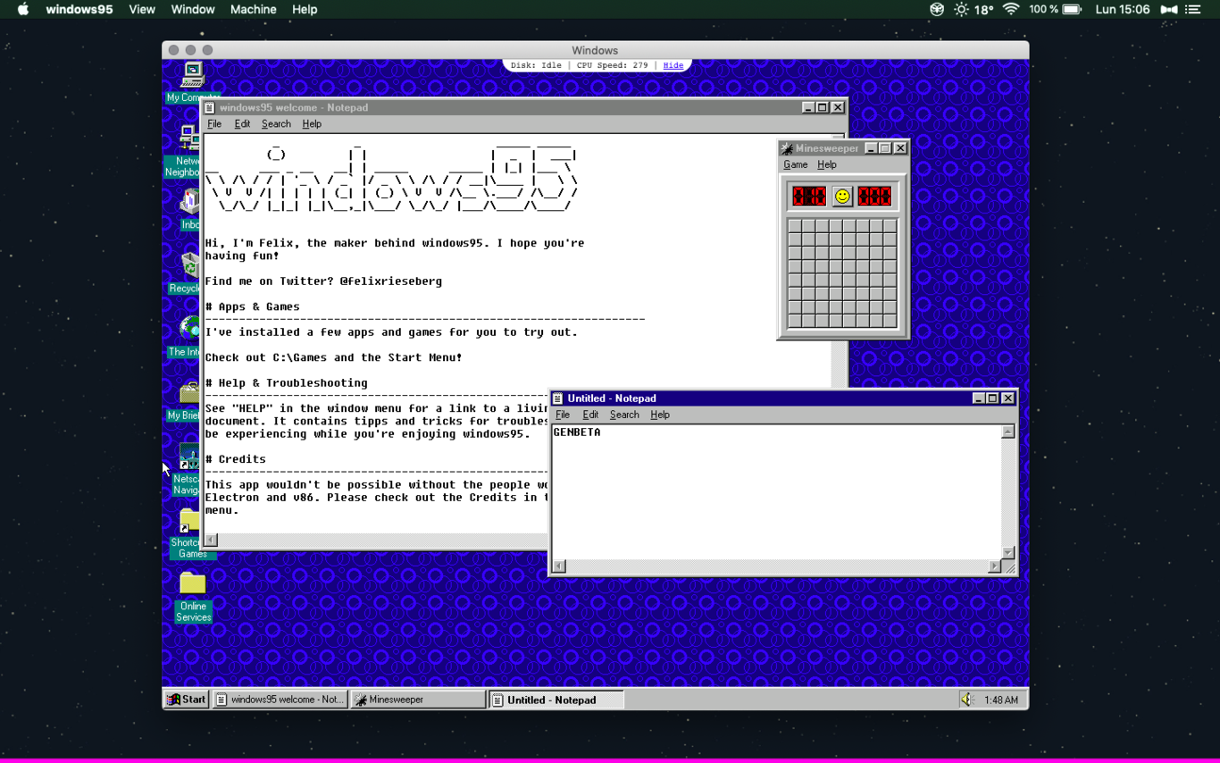 El Windows 95 que funciona como una app en Windows 10, Linux