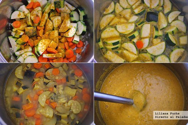 Crema de calabacín y zanahoria al curry. Pasos de la receta
