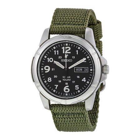 Seiko Black Dial Green Nylon Solar Quartz Men S Watch Sne095p2 1