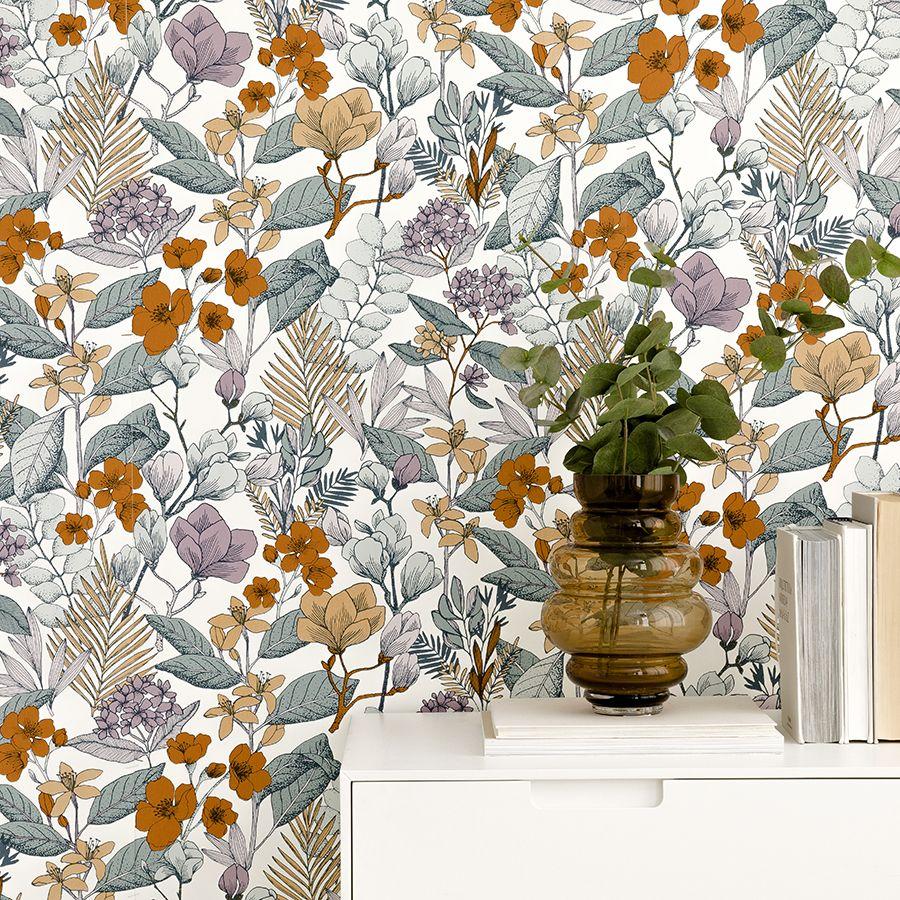Papel pintado con estampado floral