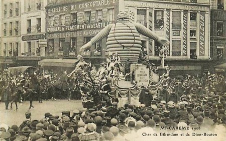 Char De Bibendum Et De Dion Bouton A La Mi Careme 1908 A Paris