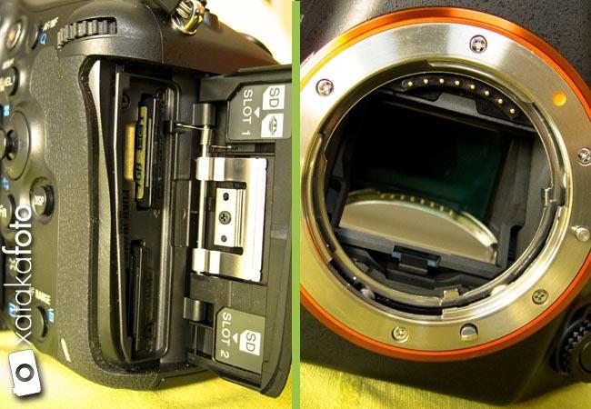 Sony A99 detalles slots y espejo