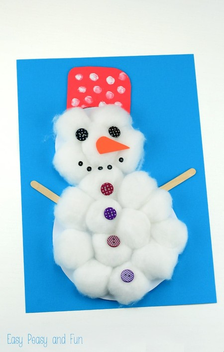 Manualidades Invierno Munecos Nieve Algodon