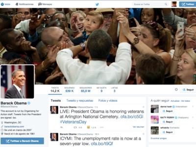 """Obama """"necesita"""" un equipo de hasta veinte personas para llevar sus redes sociales"""