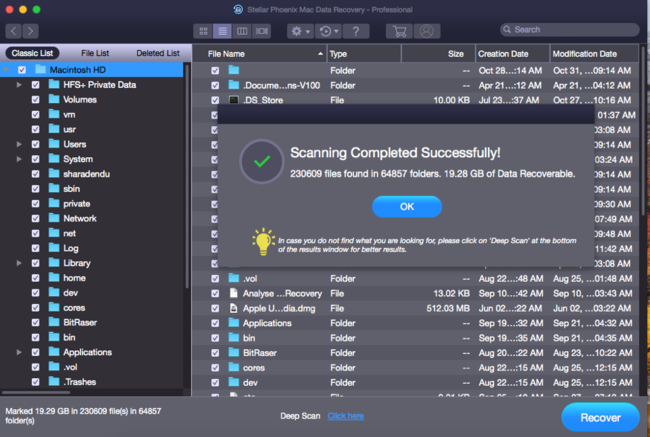 Stellar Phoenix Mac℗ Data Recovery Scan Completed