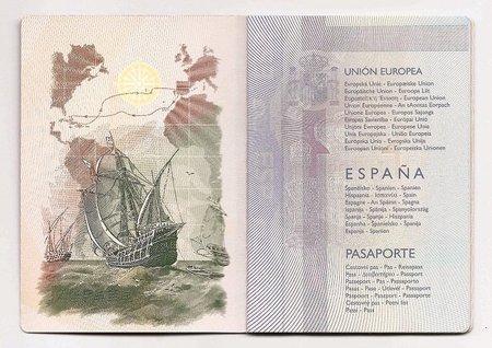 Error histórico en el pasaporte español