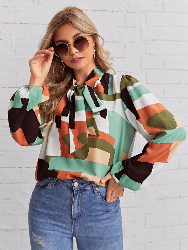 Blusa de cuello con cordón de color combinado de manga farol