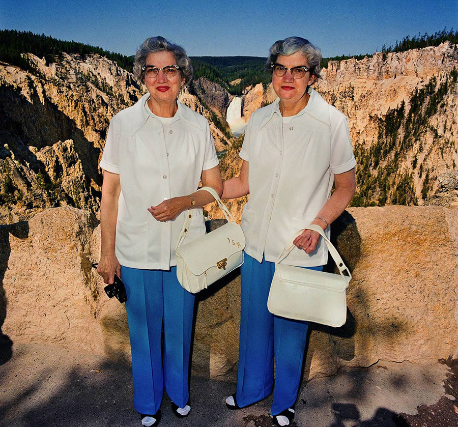 Twins With Matching Outfits At Lower Falls Overlook Yellowstone National Park Wy