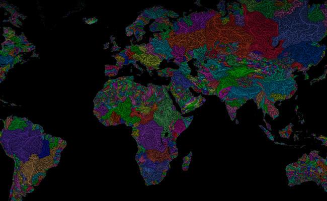 Todas las cuencas hidrográficas del planeta, expuestas de forma majestuosa en un sólo mapa