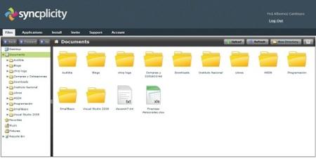 Interfaz web de Syncplicity