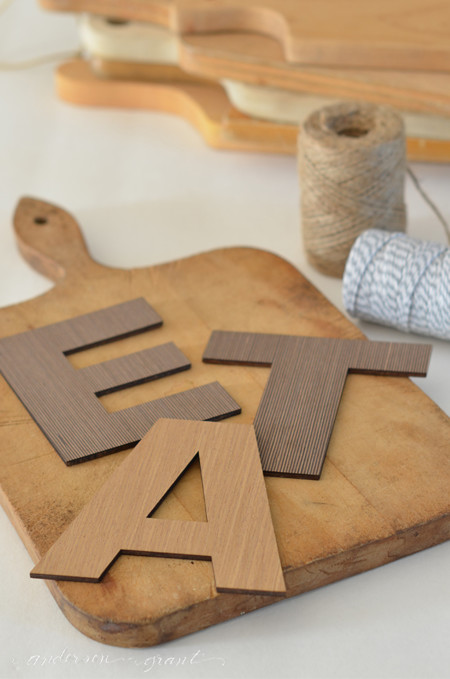 Vintage Cutting Board And Wood Craft Letters