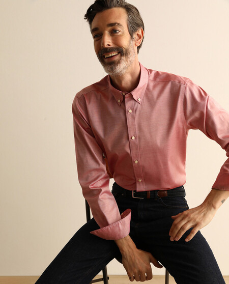 Camisa Sport Pinpoint De Hombre Regular Lisa Roja