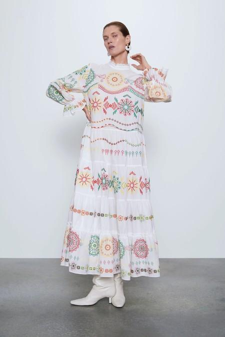 Vestidos Rebajas 2020 Zara Tobillera Estampado 02