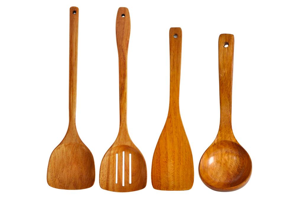 Espátula de madera, espátulas ranuradas, cucharón de mango largo. Hecho a mano para utensilios de cocina (utensilios de cocina 4 juegos)