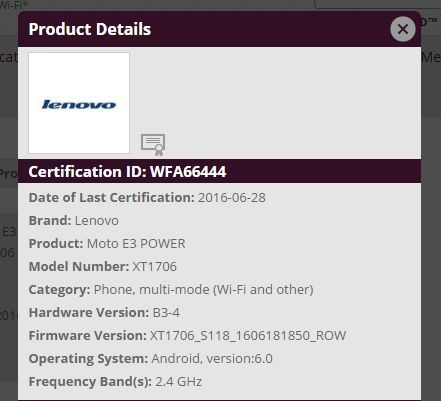 Moto E3 Power Especificaciones Filtradas