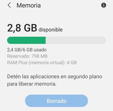 RAM virtuale Samsung Galaxy