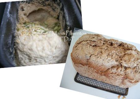 Pan integral de centeno con semillas en panificadora
