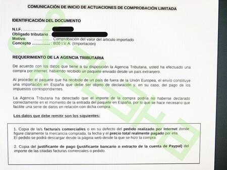 Documento del requerimiento de la Agencia Tributaria donde le piden la información antes expuesta.