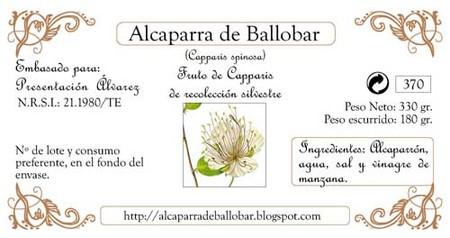 Alcaparras ecológicas de Ballobar, etiqueta