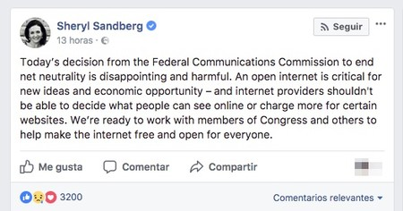 Sheryl Sandberg Today S Decision From The Federal Communications