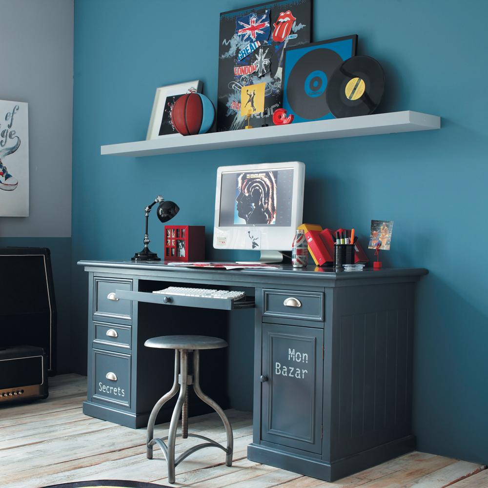 Escritorio gris azul con 1 puerta y 4 cajones