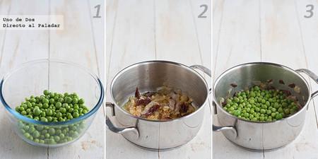 Receta de guisantes frescos con jamón y patatas fritas paso a paso