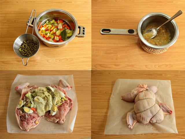 Paso a paso receta para la comida de Navidad. Pollo relleno de verduras y queso gouda sin lactosa