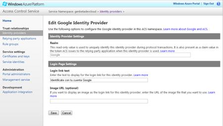Windows Azure AppFabric ACS - Identity Providers - Google