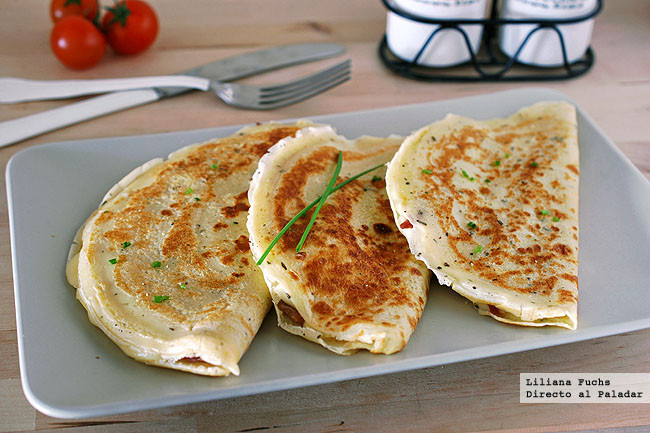 Cr pes de jam n y queso provolone receta para el martes for Salsa para crepes
