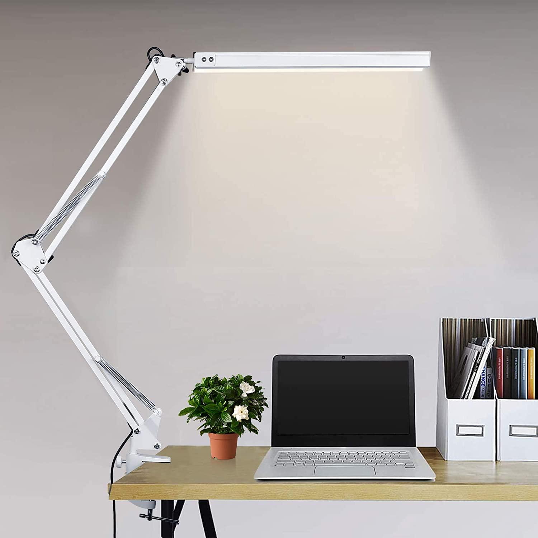 Lámpara de escritorio LED Lámpara de lectura de brazo Eye-Care Architect USB Lámpara regulable con 3 modos de color 10 niveles Adecuado Para Oficina, Lectura, Estudios … (blanco)