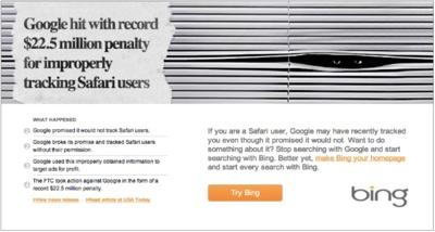 Microsoft anima a los usuarios de Safari a usar Bing y dejar Google