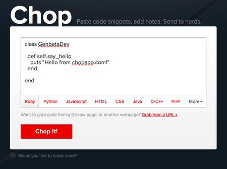 Comparte porciones de código con elegancia gracias a Chop