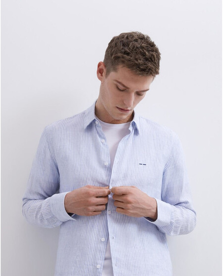 Camisa De Hombre Regular De Rayas En Azul