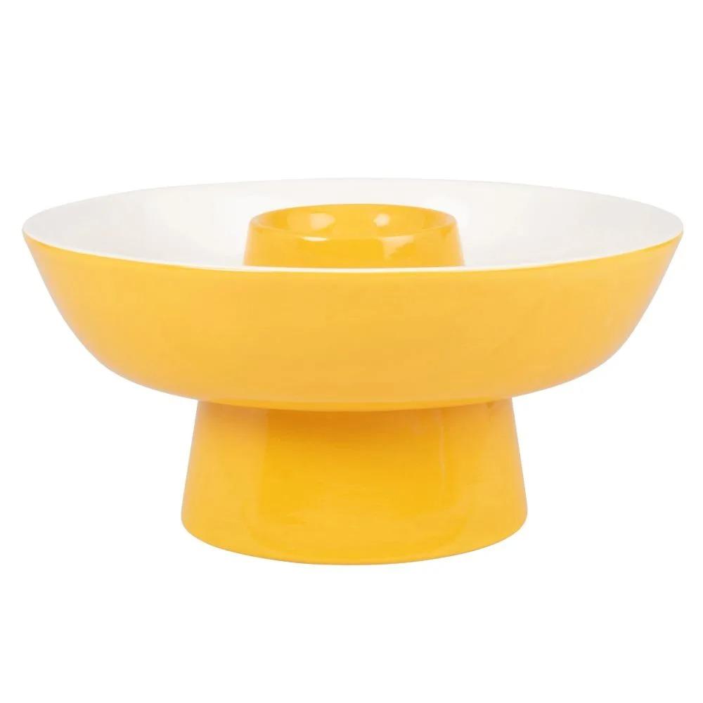 PACHUCA. Frutero de loza color amarillo
