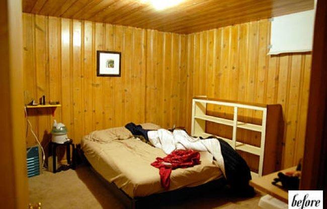 Antes y despu s paredes de madera pintadas en blanco - Habitacion de madera ...
