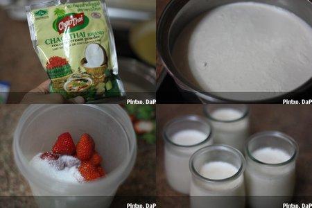 Receta de vasitos de coco y fresa. Pasos