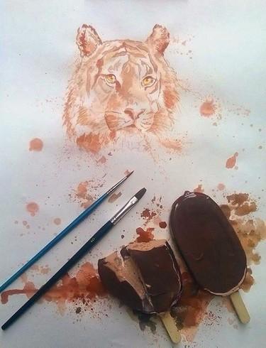 Othman Toma prefiere usar helados para pintar sus cuadros