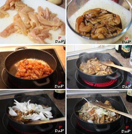 Paso a paso en la elaboración de la receta de Chop Suey de pollo