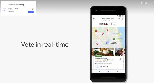 Google Maps Google™ I/O 2018 Votar en Google™ Maps