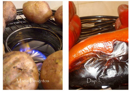 Asamos patatas y pimientos