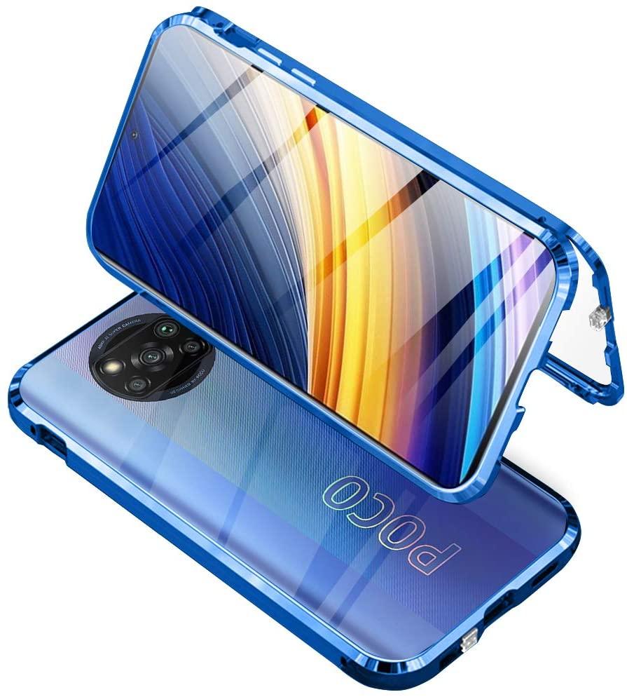 Funda para Xiaomi Poco X3 NFC/Poco X3 Pro Adsorcion Magnetica con Anti Separado Diseño, Carcasa 360 Protección Estuche Marco Aluminio Háptico Vidrio Templado Anti Choque Metal Cover