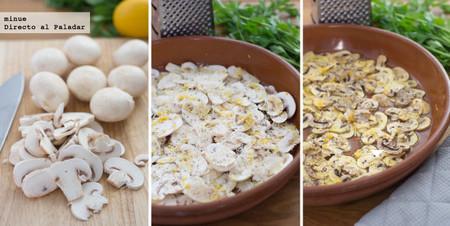 Champiñones gratinados con un toque de tomillo y limón - elaboración