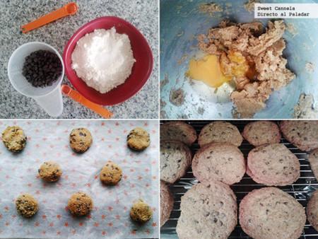 Preparación galletas crujientes chispas de chocolate