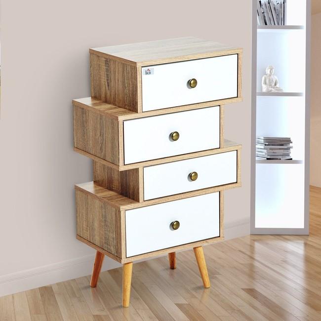 Mueble cajonera estilo nórdico en color blanco y madera por 56,99 euros con envío gratis