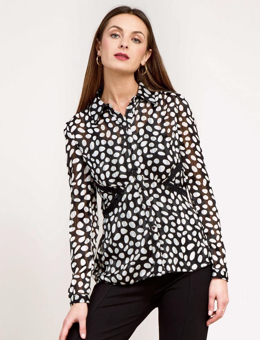 Camisa de mujer estampada de lunares de manga larga