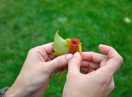 Cómo hacer una flor con una hoja seca